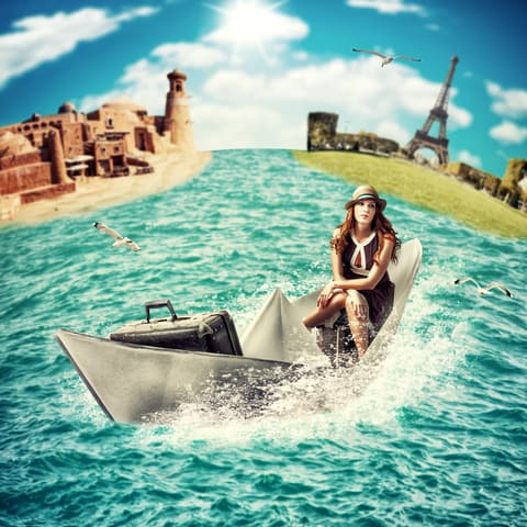 http://www.dreamstime.com/stock-photos-travel-woman-luggage-boat-concept-dreaming-sea-??cruise-around-world-floats-paper-ocean-image31612213