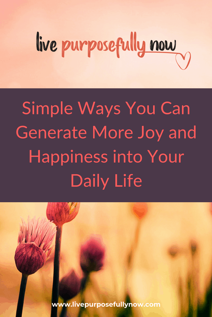 How to Generate More Joy and Happiness into Your Daily Life
