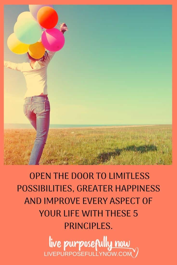 Finding a way to practice these 5 principles of life will open the door to limitless possibilities and improve every aspect of your life. Give the message to your subconscious that you are worthy and in this moment life is really great. #lifeprinciples #greatlife #happiness